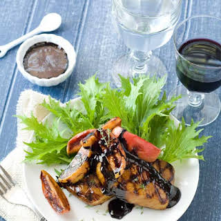 Gluten Free Molasses Brined Pork Chops with Roasted Apples & Balsamic Glaze.