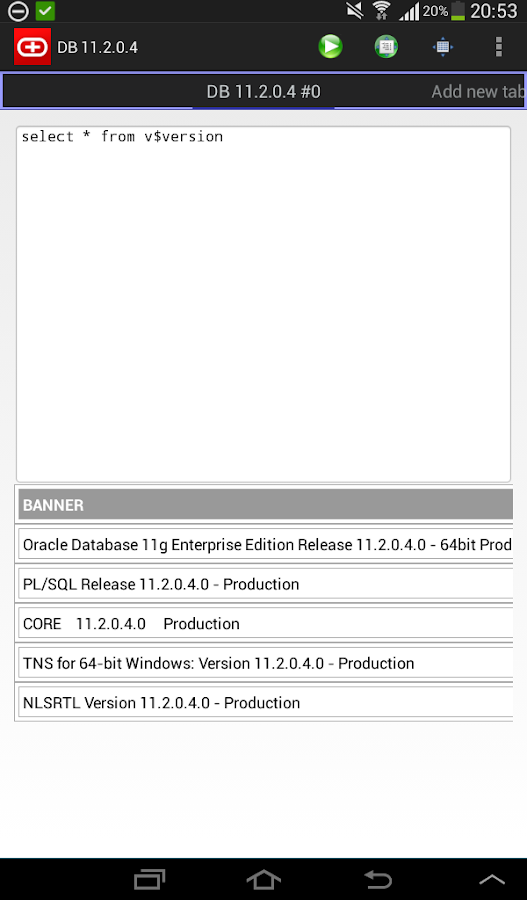 Simple Android Oracle client- screenshot