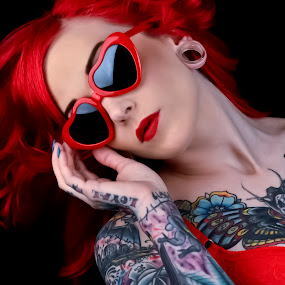 Red by Tina Marie - People Body Art/Tattoos ( fashion, red, tattoos, beauty, women, portrait, tatoo, person, people, tattoo,  )