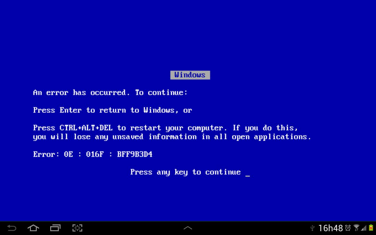 Blue Screen of Death- screenshot