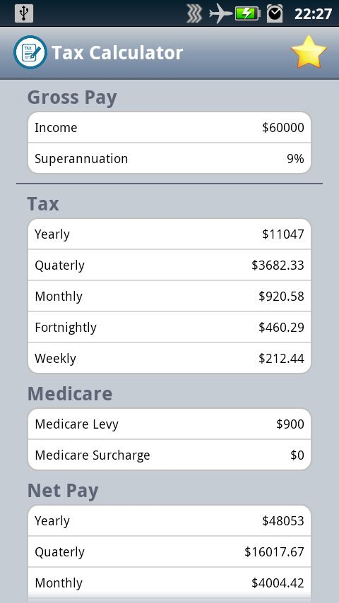 Easy Australian Tax Calculator - screenshot
