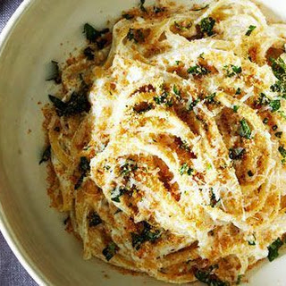 White Pasta With Garlic Parmigiano Bread Crumbs