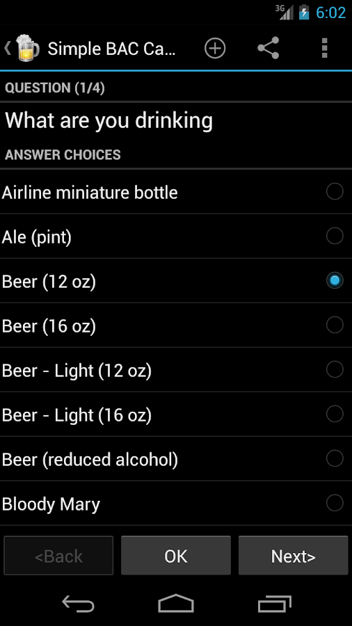 Blood Alcohol Calculator - screenshot