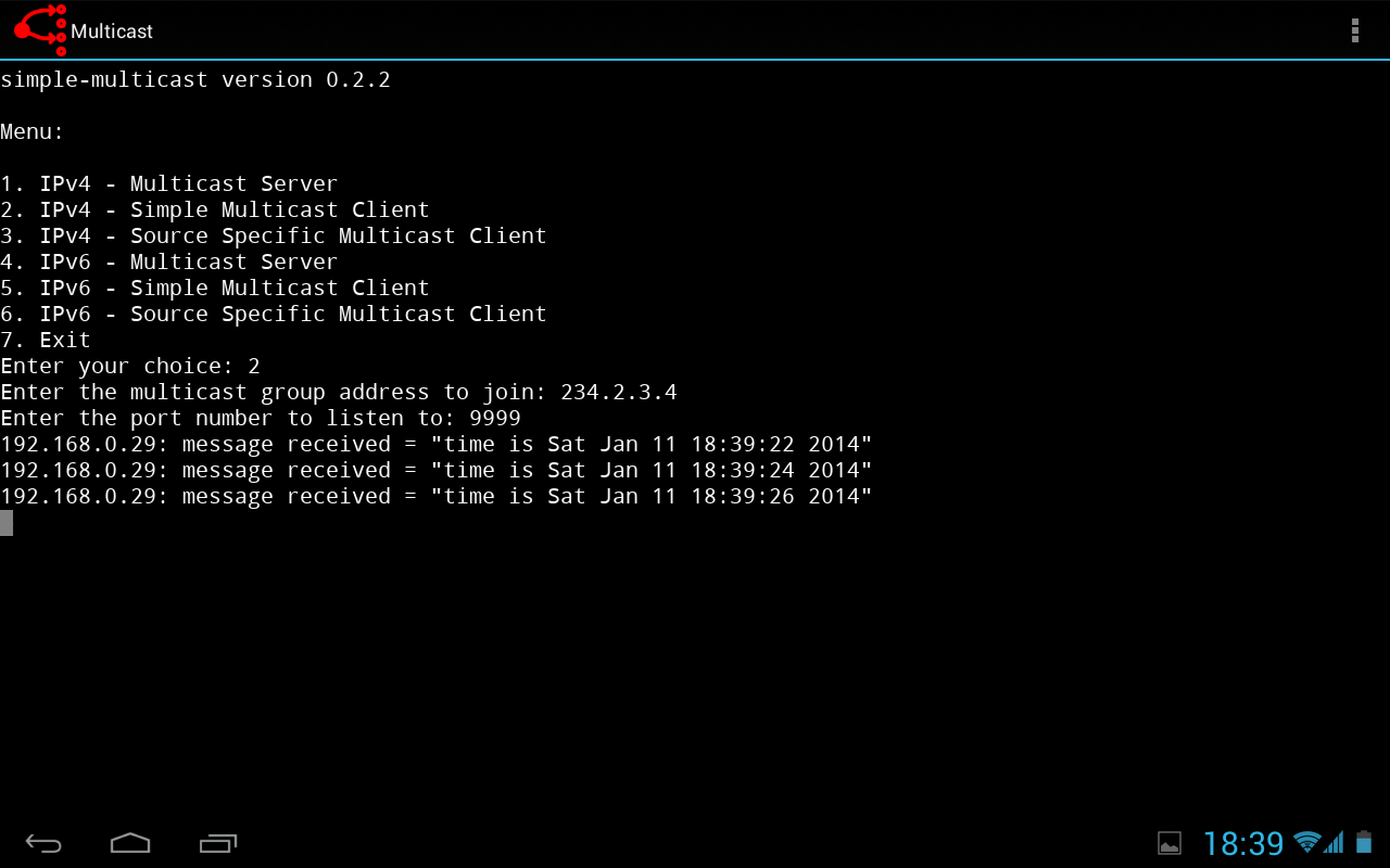 Simple Multicast - screenshot