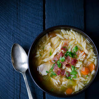 One Pot Chicken and Bacon Orzo Soup.