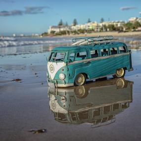Beach Kombi Van by Howard Ferrier - Artistic Objects Toys ( sunshine coast, sand, queensland, reflection, van, waves, caloundra, beach, volkswagen, vw, toy, surfboard, kombi, kings beach, , Beach, sunset, blue, water, ocean.  )