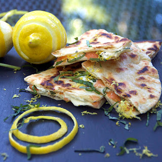 SMOKED SALMON QUESADILLAS with GOAT CHEESE.