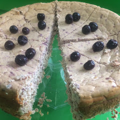 gluten free ptotein filled blueberry lemon poppy seed cheesecake