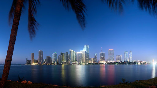 The beautiful night skyline of Miami, Florida.
