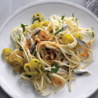 Linguine with Boquerones, Peppers, and Breadcrumbs.