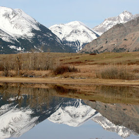 Waterton Lakes Reflection by Ian McAdie - Landscapes Mountains & Hills ( calm, reflection, mountain, waterton, park, lakes, forest, landscape, panorama, ice, peace, snow, tranquility, , relax, tranquil, relaxing )