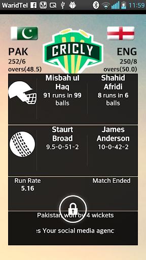 Cricly- IPL Cricket Lockscreen