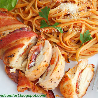 Pizza Stuffed Bacon Wrapped Chicken with Pasta (Day 3 of Bacon Week) # baconweek.