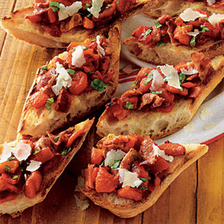 Roasted Pepper and Bacon Bruschetta.
