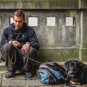 Homeless teenager by Dragos Birtoiu - People Street & Candids ( homeless, teenager, puppy, dog, bound )