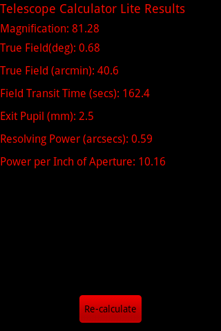 Telescope Calculator Lite- screenshot