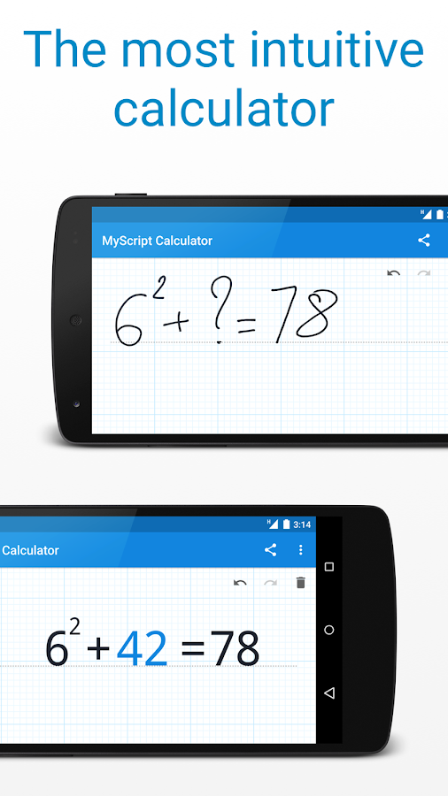 Screenshots of MyScript Calculator for iPhone