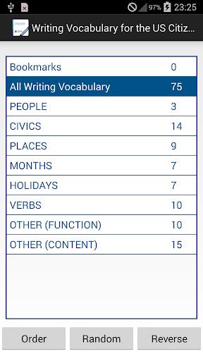 Writing Vocab for Civics Test