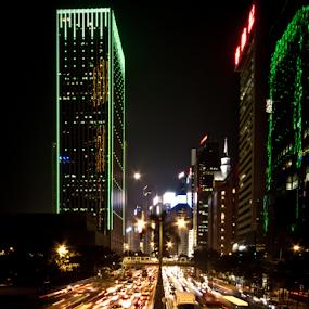 Night commute by Wah Yuen Lau - City,  Street & Park  Street Scenes ( lights, cars, night, city )