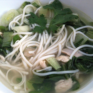 Homemade Pho with Chicken, Baby Bok Choy and Chinese Noodles.