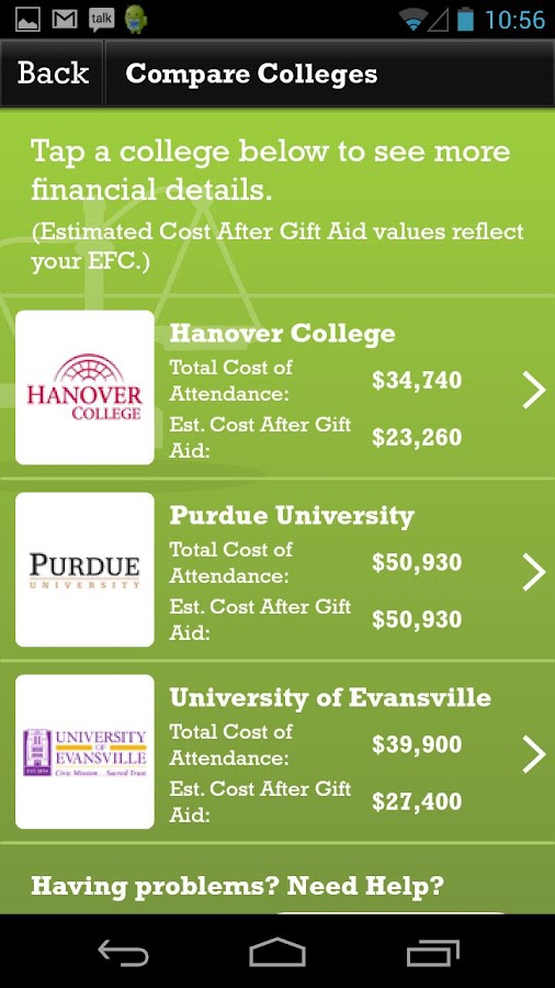 Indiana College Cost Estimator - screenshot