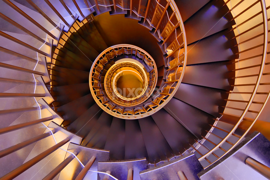 The golden stairs by Antonio Amen - Buildings & Architecture Other Interior ( golden.steps, stairs, circle, gold,  )