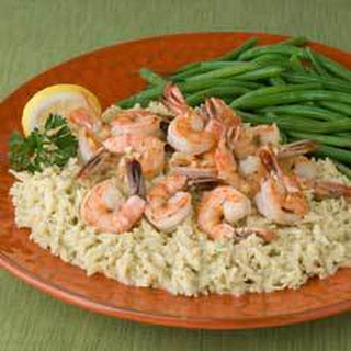Shrimp Scampi Over Rice.