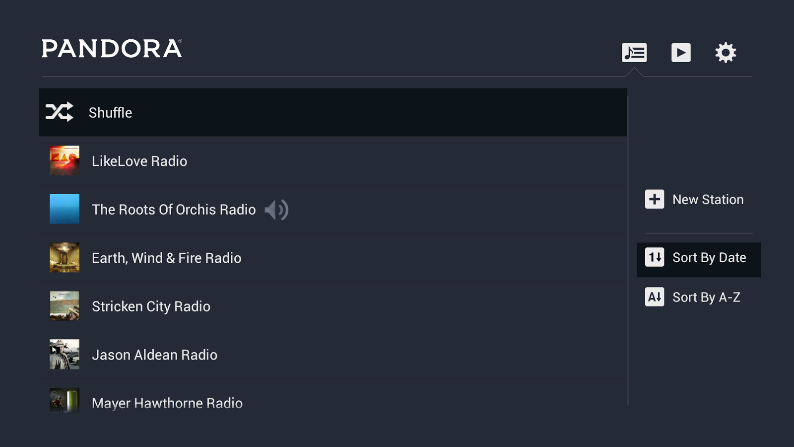 Pandora® Radio for TV- screenshot