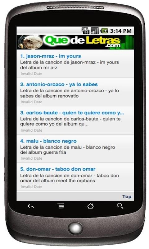 Letras de Canciones Lyrics - screenshot
