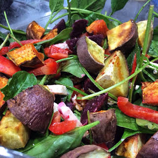 Roast Veggie and Spinach Salad.