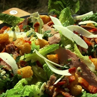 Caesar Salad With Smoked Duck Breast.