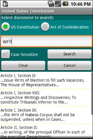 United States Constitution Screenshot