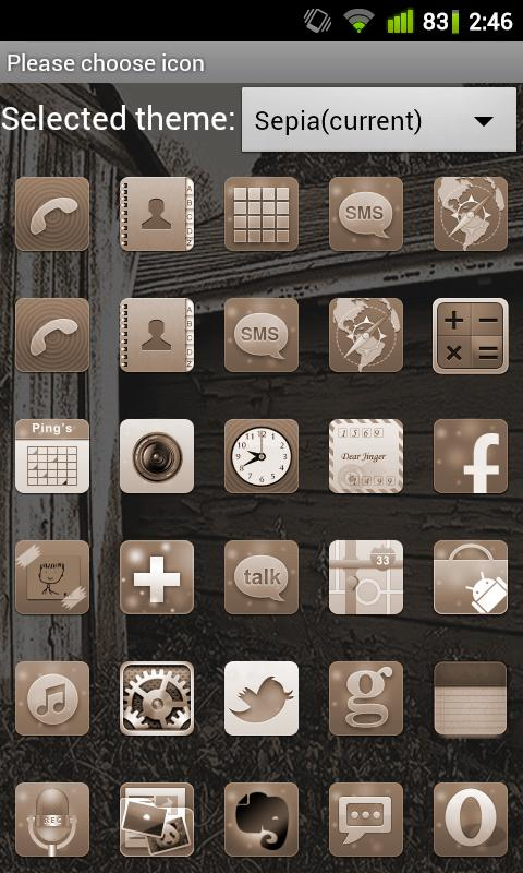 Sepia Theme for GO Launcher EX- screenshot