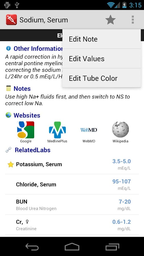 Pocket Lab Values - screenshot