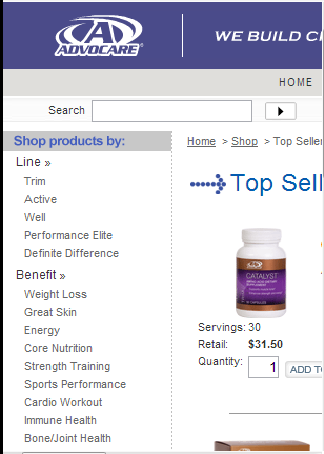 Advocare Products Ordering App