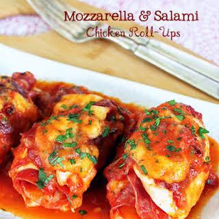Mozzarella and Salami Chicken Roll-Ups.