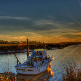 Schwell Deal by Brent Sharp - Landscapes Sunsets & Sunrises ( savannah, hdr, sunset, marsh, landscape, boat, sun, dock, river,  )