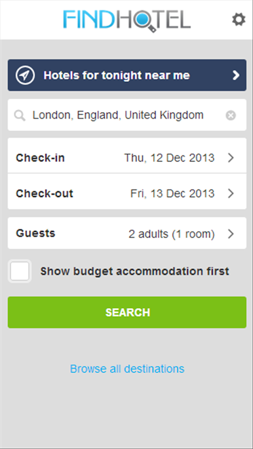 Hotel Search Find Hotels Screenshot