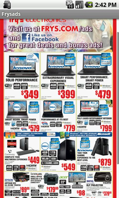 Fry's Ads - screenshot