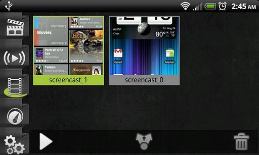 Screencast Video Recorder es tan sencillo como definir los ajustes que queramos del vídeo (calidad alta, fps, fichero de salida, etc..) y darle al botón central para empezar a grabar. Y no tiene más secreto. La aplicación dispone de unos cuantos extras como poder grabar el audio o añadir un mini puntero para enseñar donde estamos pulsando.          Detalles a tener en cuenta para el uso de la aplicación: Hace falta ser root. No funciona correctamente en el Galaxy Nexus y algunos Tegra
