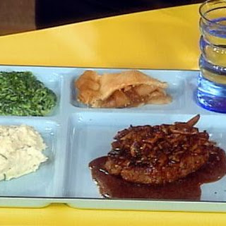 Salisbury Steak with Wild Mushroom Gravy, Smashed Potatoes with Garlic and Herb Cheese and Chives, Creamed Spinach Recipe