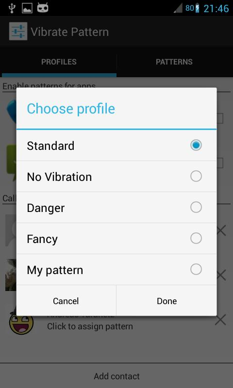 Custom Vibrate Pattern SMS- screenshot