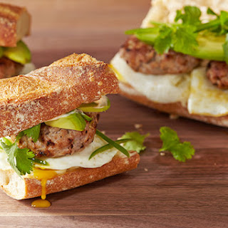 Breakfast Banh Mi Sandwich with Eggs and Sausage