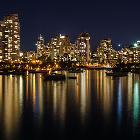 Vancouver city at night by Cory Bohnenkamp - City,  Street & Park  Night ( vista, night, lost lagoon, landscape, vancouver, panorama, city )