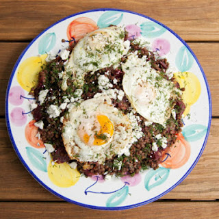 Beet and Lentil Salad with Feta and Fried Eggs
