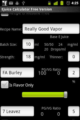 E Juice Calculator - screenshot