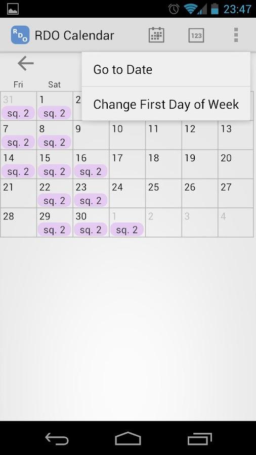 RDO Calendar - screenshot