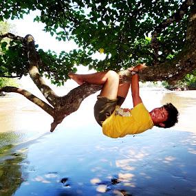 happy playing with tree by Wawan Adi - Babies & Children Children Candids