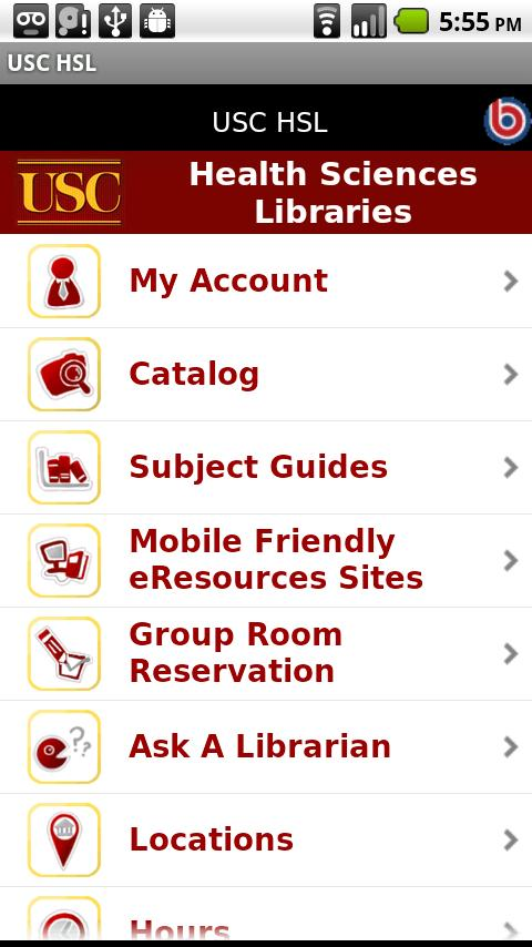USC Health Sciences Libraries- screenshot