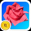 Origami Rose: virtual flower icon
